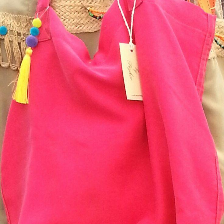 #canvas #handbag #tote #pink #tassel #pompom #sew #diy #handmade