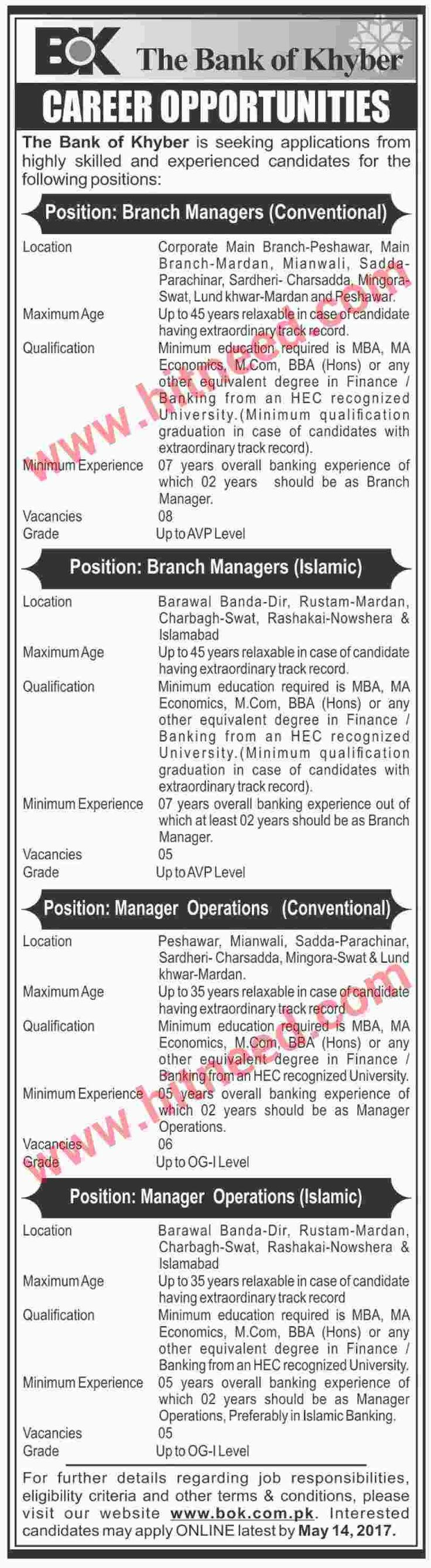 Banking job opportunities announced islamic banking and conventional banking jobs the bank of khyber announced jobs for branch manager and manager