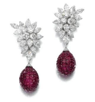 Diamond and Ruby earrings by Van Cleef and Arpels