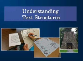 Revised for 2013! This presentation introduces five common text structures (chronological order, cause and effect, compare and contrast, problem/solution, and description) with examples, review, and discussion. This is a good starting point if you are just beginning with teaching text structure.
