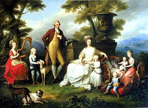 The Royal Family of Naples by Angelica Kauffman. This portrait represents a break with typical depictions of the Bourbons, incorporating an Arcadian landscape and simple poses.