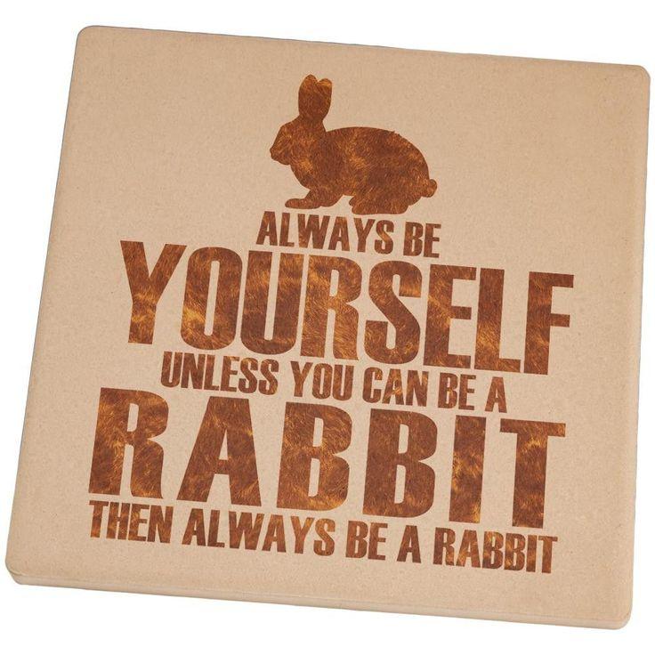 Always Be Yourself Rabbit Square Sandstone Coaster