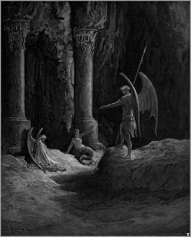 SATAN SPEAKS WITH SIN AND DEATH: PARADISE LOST - GUSTAVE DORE