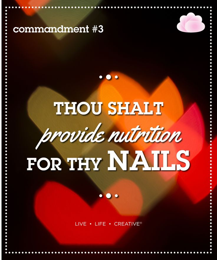 Thou shalt provide nutrition for thy nails Did you know certain foods can improve the way your nails look? Nutrients like Omega 3, Zinc, Vitamin A and H will give your hair and nails extra luster, strength and shine.