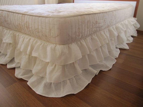 Queen or king linen 3 tier ruffle bed skirt Dust by nurdanceyiz