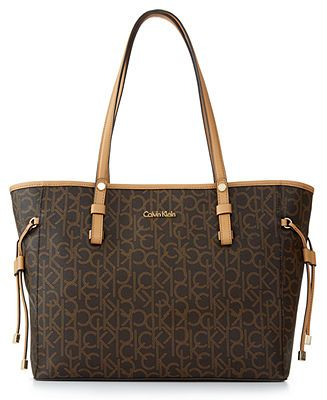 Calvin Klein Monogram Drawstring Tote - Handbags & Accessories - Macy's
