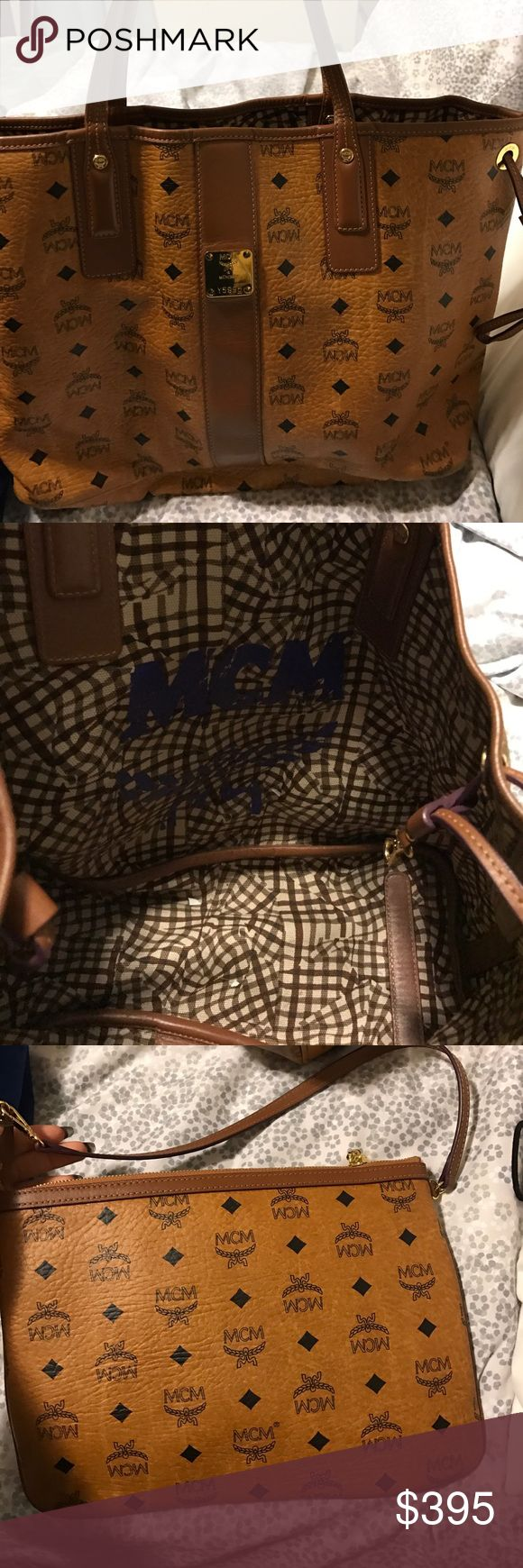 ORIGINAL MCM BAG FOR SALE Alittle over a year.... good condition for the most part but peeling on he bottom barley. Selling for less then half the price. W/ clutch. MCM Bags Totes