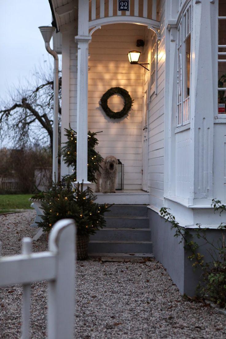 Lilla Villa Vitas entré är adventsfixad. Granriset är på plats och den långa ljusslingan likaså. Det granris som blev över stack ja...
