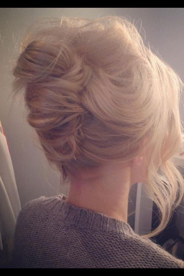 Beautiful wispy occasion up do.