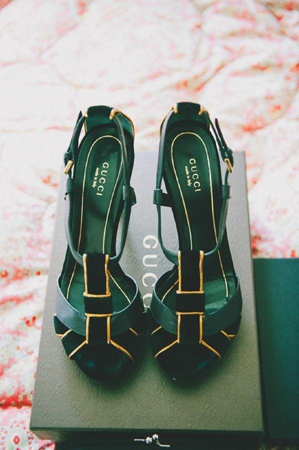 Emerald Green Gucci heels .//. green, black gold