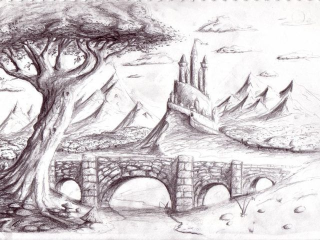 Beautiful Drawings Of Nature Scenes Natural Scene Pencil Drawing