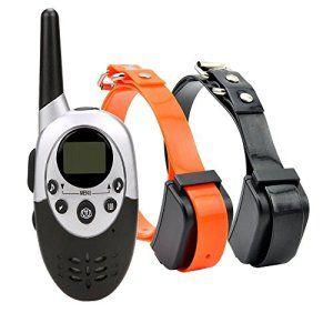 Rechargeable Étanche Chien Collier de Dressage 1000 M Gamme Pet Télécommande Anti Aboiement Choc + Vibra + Électrique Pour 2 Chiens…