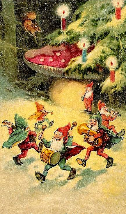 beautiful christmas art; gnomes, christmas tree, toadstool, candles