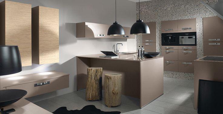 Schröder Küchen Luna fango, Matrice woodline bambus Keukens - küche ohne griffe