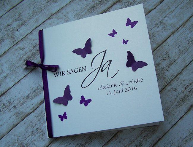 besondere Einladung zur Hochzeit mit Schmetterlingen lila ...