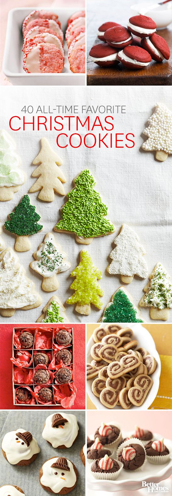 It's our favorite time of year: Christmas Cookie Season! Here are forty of our favorite recipes: http://www.bhg.com/christmas/cookies/favorite-christmas-cookies-and-bars/?socsrc=bhgpin120113alltimefavoritechristmascookies