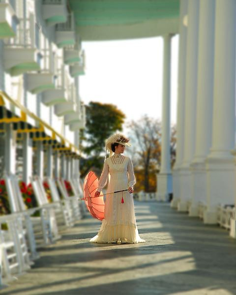 """Jane Seymour on the porch of The Grand Hotel in """"Somewhere in Time"""". Wow! Wish I had lived in those days; ladies looked so elegant."""