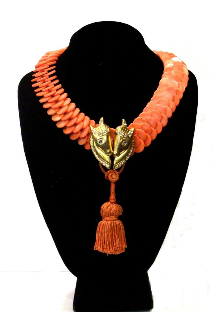 Woven Coral Disk Collar, Art Deco Ponies, 1930s Coral Silk Tassel: $ 935.00