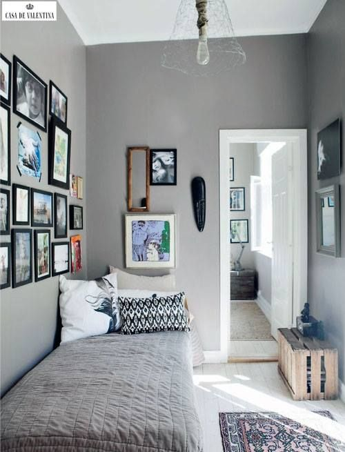 gray and white, picture frame wall  Small BedroomsSmall ...