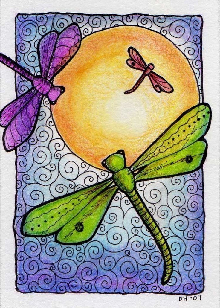 Dragonflies in the Sun ATC ACEO Print by crookedlittlestudio. $5.00 USD, via Etsy.