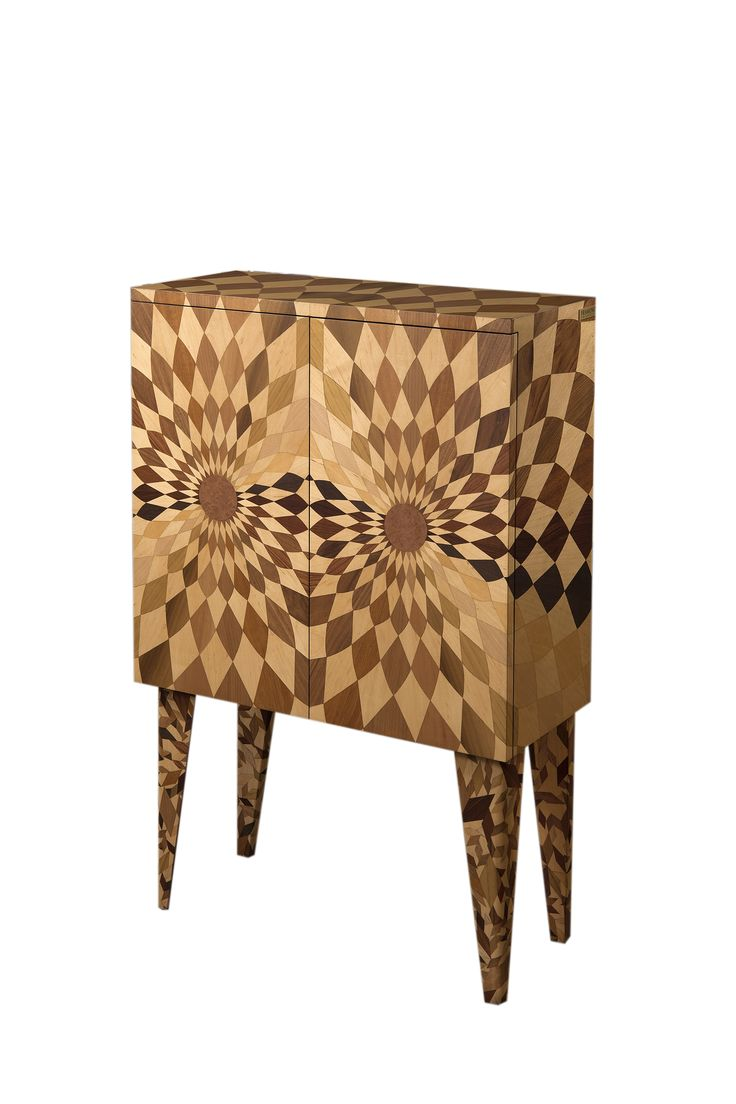 STEREOGRAF Cabinet | Lovely storage cabinet  achieved using the ancient techniques of cabinet-making, inlay work and mosaic work, guaranteeing the uniqueness of the work. Interior lined with dark brown crocodile paper but can also be personalized with woven paper, wood, metal, leather, and even fragmented mirrors. Each piece in the patterns was inlaid individually by hand using different types of wood. #wood #design #interiordesign #furniture #home #cabinet
