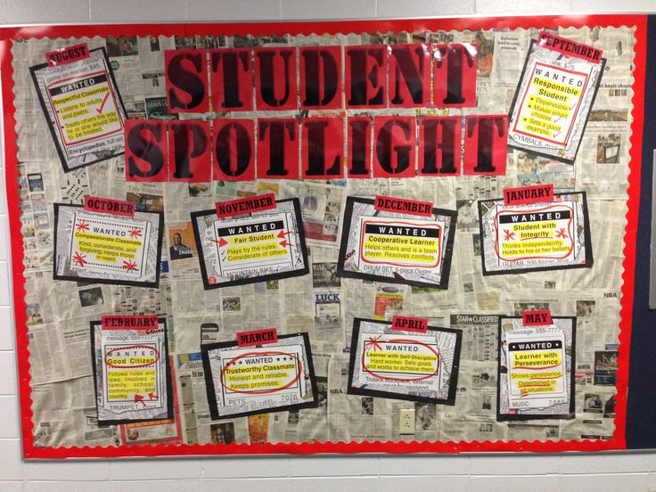 Bulletin Board: Student Spotlight- used to display students of the month- their pictures and names are added on yellow stars around each month - used newspaper for background, red border and wanted ad signage from United Art and Education