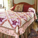 """Heirloom Rose Baskets"", traditional quilt pattern with a modern fabric twist, fully patterned in McCall's Quilting May/June 2012 issue.: Baskets Quilt, Pattern New Twist, Quilt Pattern New, Quilt Patterns, Size Quilts, Heirloom Roses, Fully Patterned"
