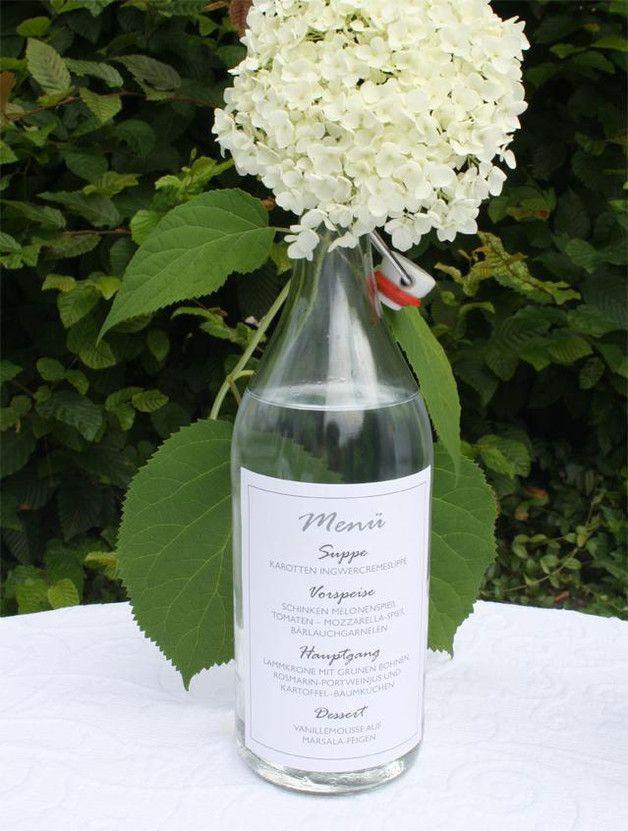 ■ **Hochzeitsmenü oder Getränkekarte auf der Flasche ♀♥♂ 7141 [Elegant White]**  Statt der klassischen Menükarte findet sich hier - ganz originell - **Ihr HOCHZEITSMENÜ oder Ihre GETRÄNKEAUSWAHL...