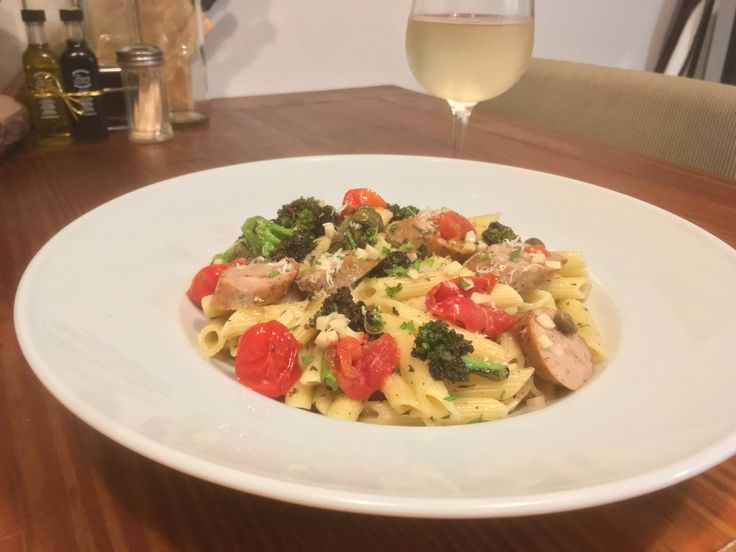 [Homemade] Penne with Chicken Sausage Broccoli and Grape Tomatoes Tossed in Piccata Sauce