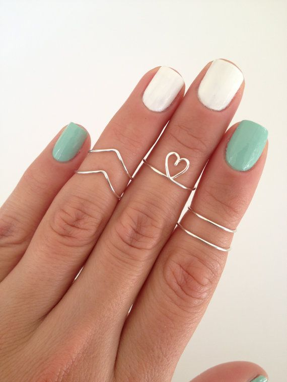 5 Midi Rings, Chevron, Dainty Heart, and Simple Bands. by MyRingsAndThings.etsy.com