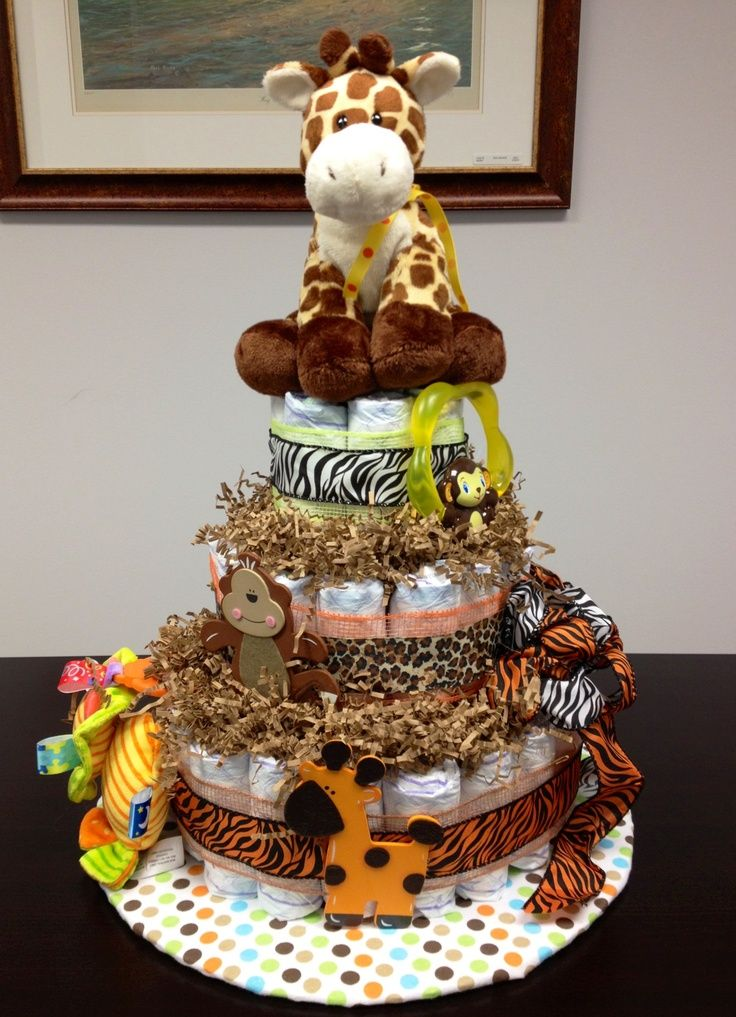 Decorating ideas for baby shower safri jungle themed for Baby diaper cake decoration