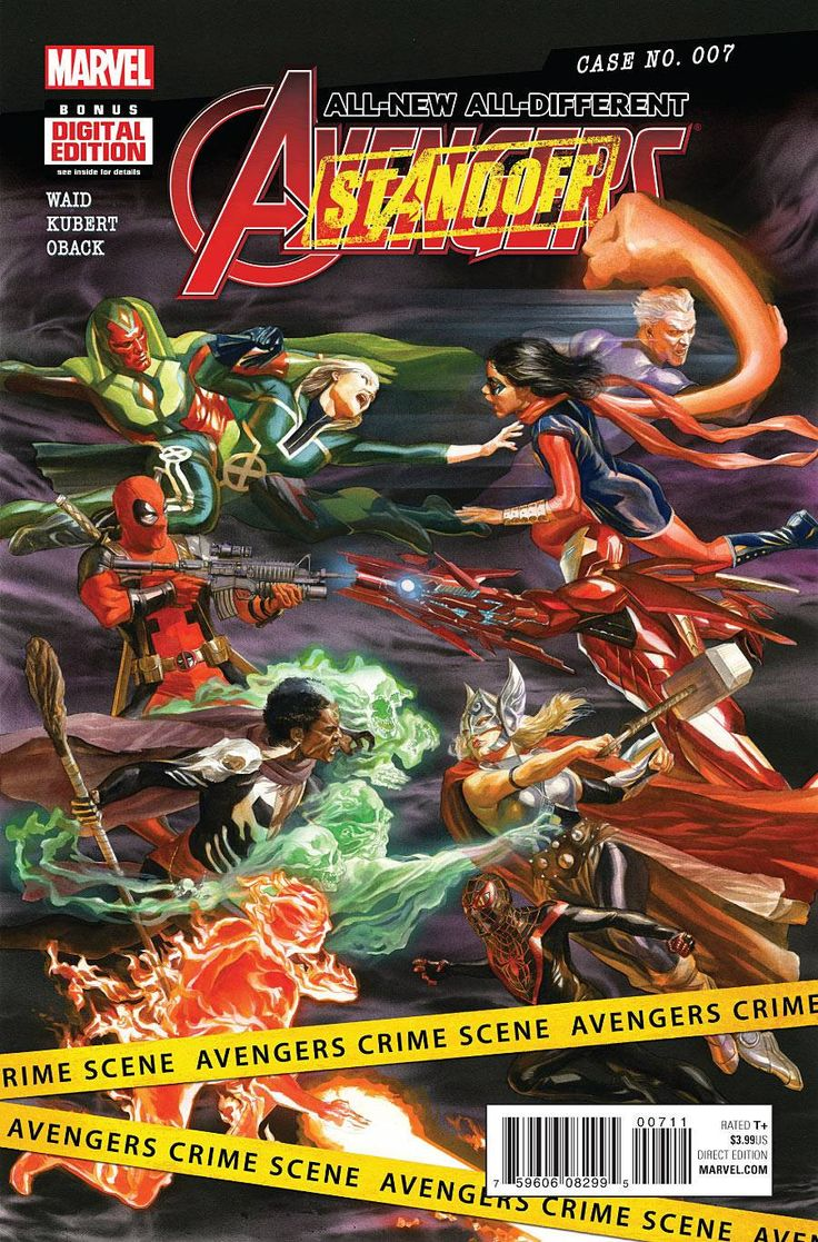 MARVEL COMICS (W) Mark Waid (A) Adam Kubert (CA) Alex Ross AN AVENGERS STANDOFF tie-in! • The ALL-NEW, ALL-DIFFERENT AVENGERS vs the UNCANNY AVENGERS! Why? How? Rated T+