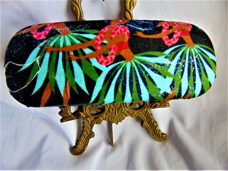 """Excited to share the latest addition to my #etsy shop: Unisex handmade hard eyeglass case/ """"Aloha""""/ Hawaiian Dancer theme/ vision accessory/ accessory case/ health & body/ sparkling finish http://etsy.me/2ofnUdM #accessories #eyewear #gold #black #unisexaccessory #hand"""