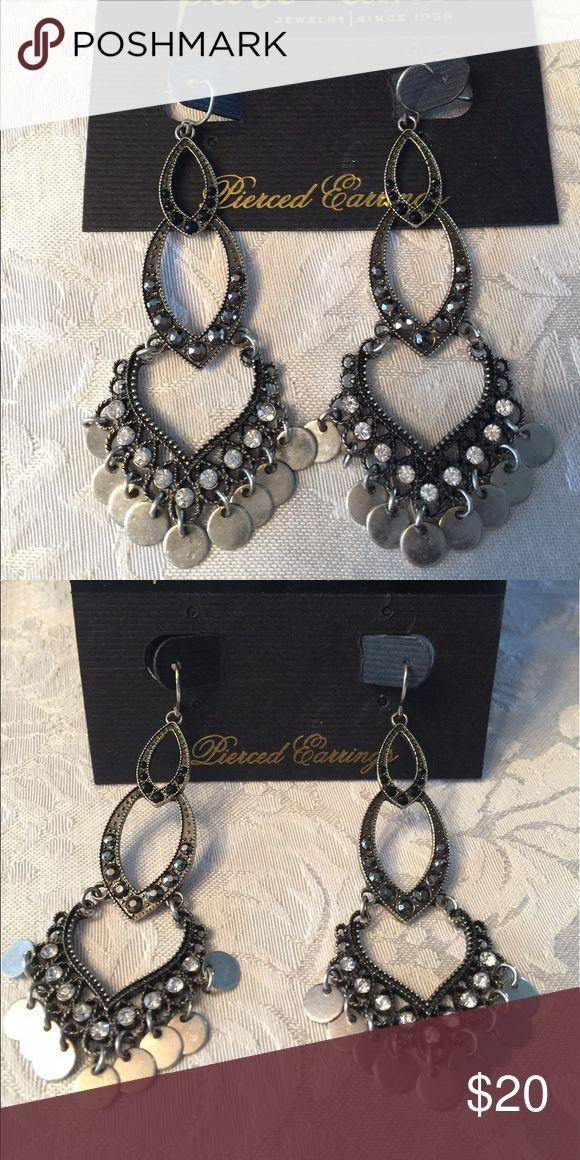 NWOT Cabana Silver chandler Earrings NWOT Cabana Silver Chandelier  earrings which featured both hematite and clear crystal accents with burnish silver disk charms.   New never worn part of my kit Park Lane Jewelry Earrings