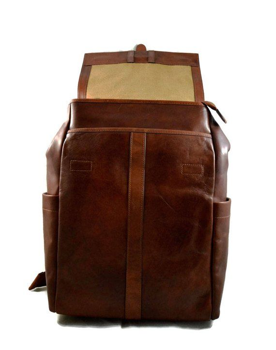e810268c41 Leather brown backpack genuine leather travel bag weekender sports ...