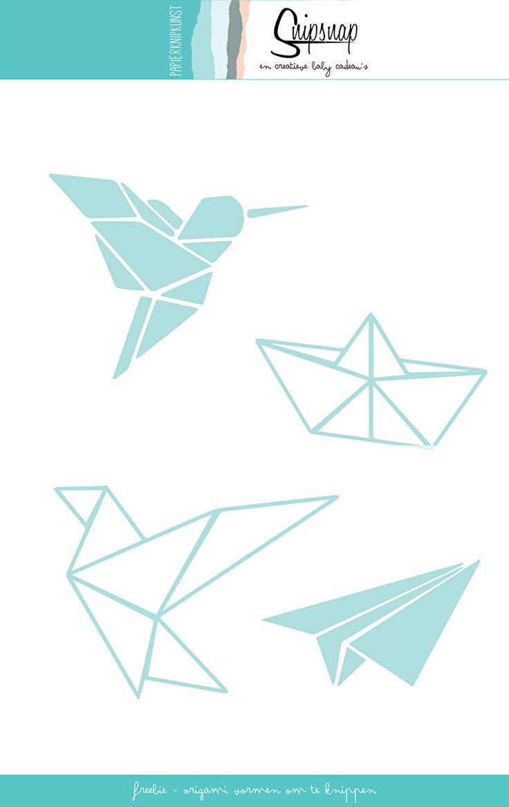 Origami vormen zijn in de mode, je ziet ze als printjes overal terug. En nu dus ook om te knippen!Download het patroon hier, of sla de afbeelding hieronder op door met je rechtermuis er op te klikken en te kiezen voor 'opslaan als'.