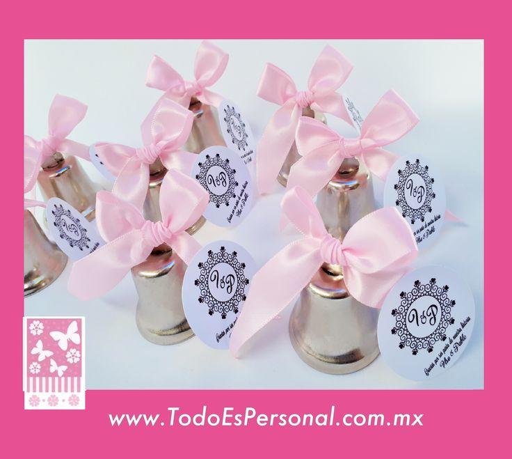 campanas para boda recuerdos novios baile iglesia logo liston rosita plata plateadas baile salon invitados madrinas damas de honor