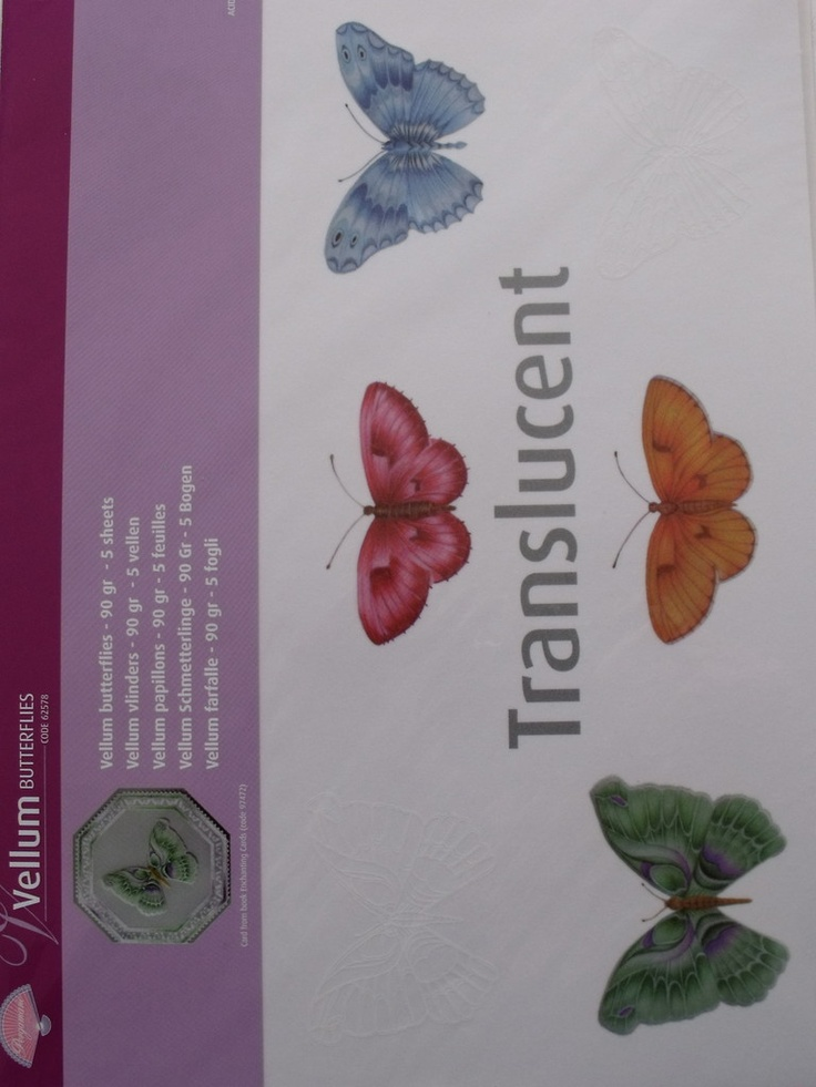 PERGAMANO VELLUM 90g BUTTERFLIES      With vellum you can quickly and easily create a card. Each sheet contains different butterfly images, all you need to do is add a beautiful border around the designs or cut the butterflies out and use as 3D elements. The package contains 5 sheets (90g), inA4 size.