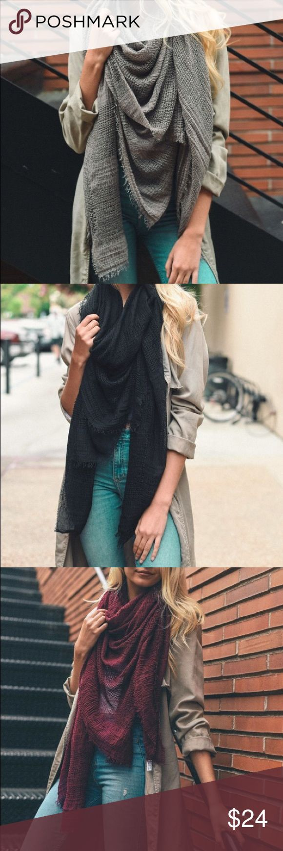 """🌼Gorgeous shredded scar . Various colors🌼 Shredded Open Weave Blanket Scarf. 80% Polyester 20% Viscose. Dimension 60""""x60"""" Accessories Scarves & Wraps"""