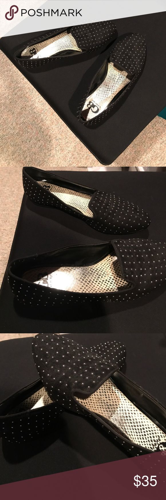 Black Gianni Bini loafer Black Gianni Bini loafers. The 'polka dot' is a small silver ball. Worn only a few times. Gianni Bini Shoes Flats & Loafers