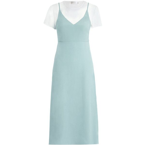 ZIMMERMANN Tee Slip Dress found on Polyvore featuring dresses, calf length dresses, mid calf dresses, midi day dresses, low v neck dress and blue slip dress