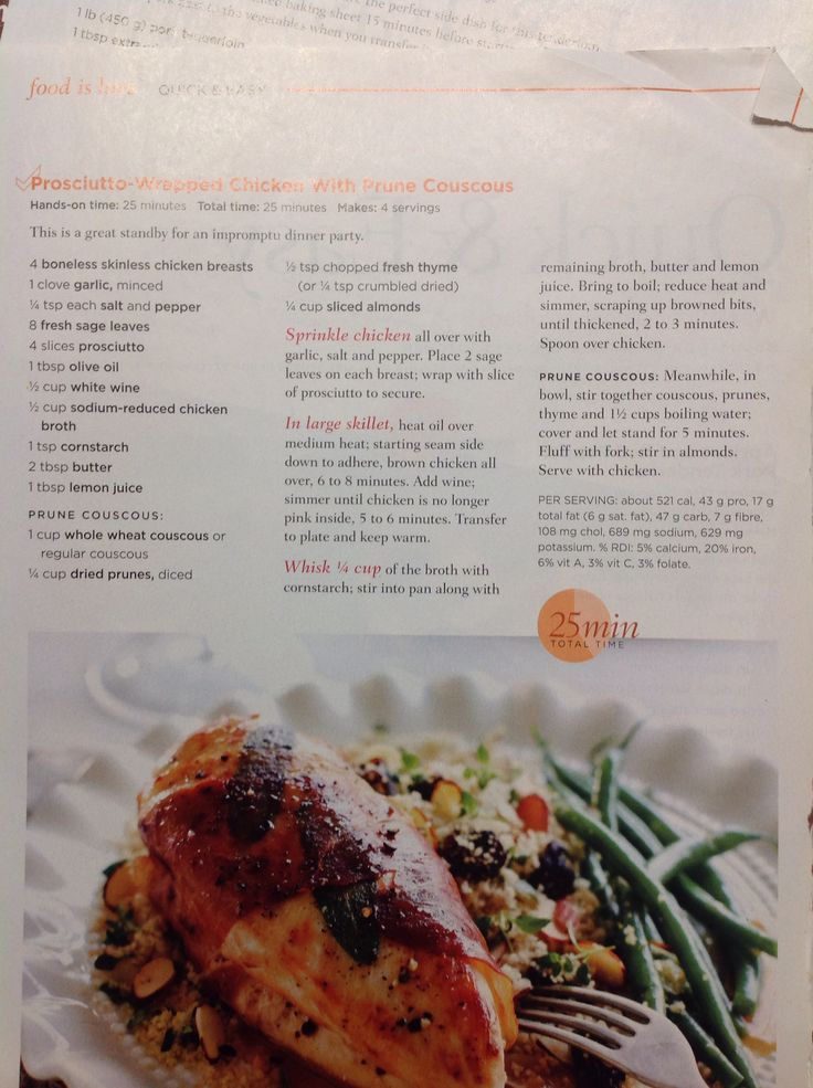 Prosciutto wrapped chicken with prune couscous