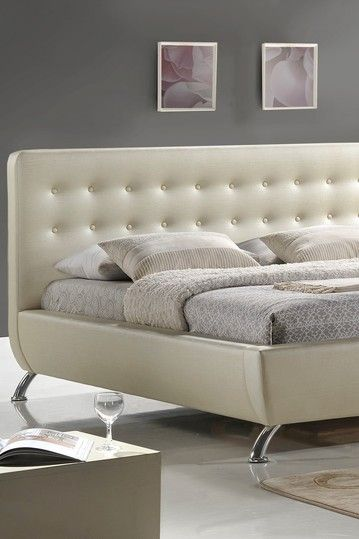 elizabeth pearlized almond modern queen bed with upholstered headboard almond on hautelook - Modern Queen Bed Frame