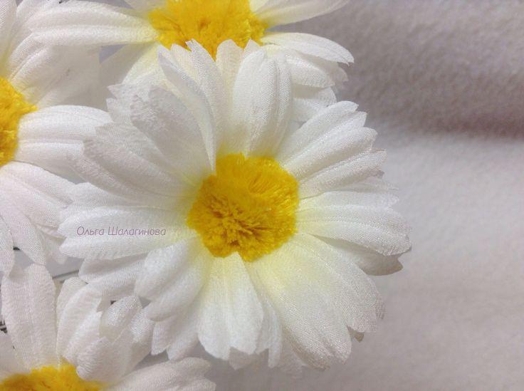 Ромашка, из натурального шелка ручной работы, крупным планом) красавица