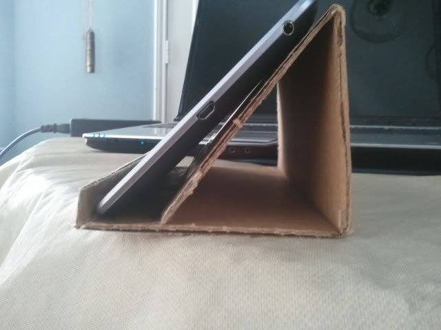 DIY tablet stand, then cover w/ designed contact paper