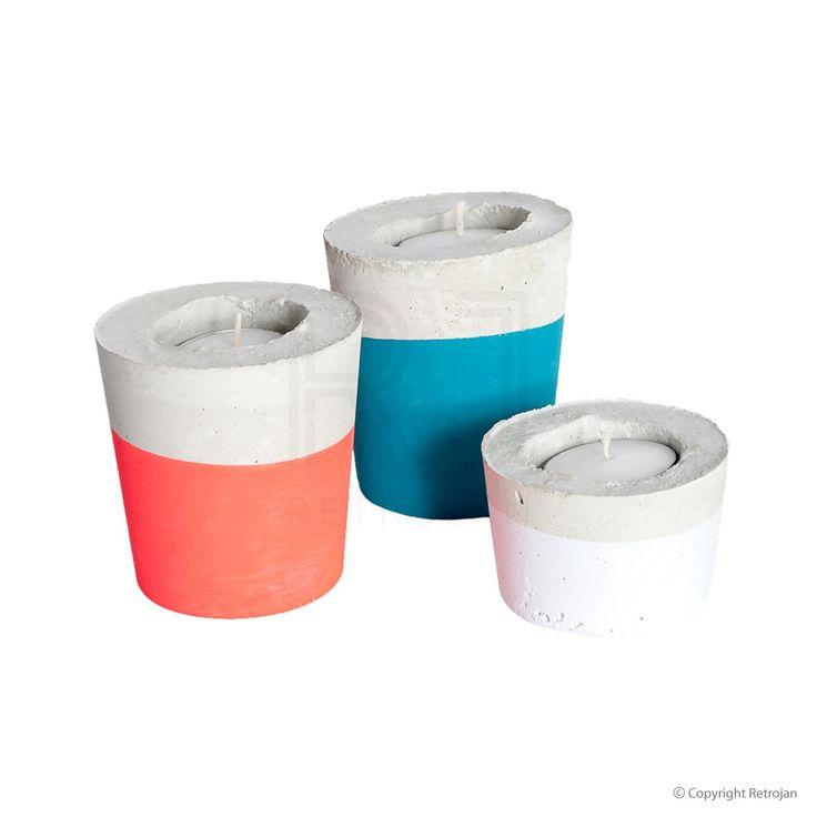 Candle Trios - Turquoise, Neon, White | $54.95