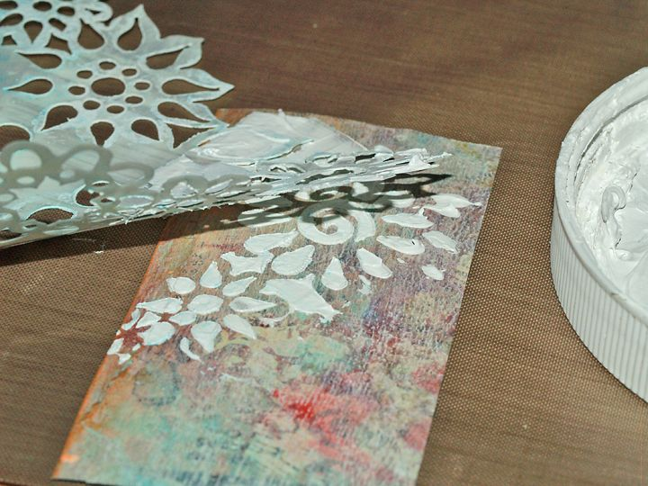 Gesso Stenciling: 2 Ways To Create Texture...I love using gesso to create texture...thanks for the idea of heating it up to create a puffy effect!