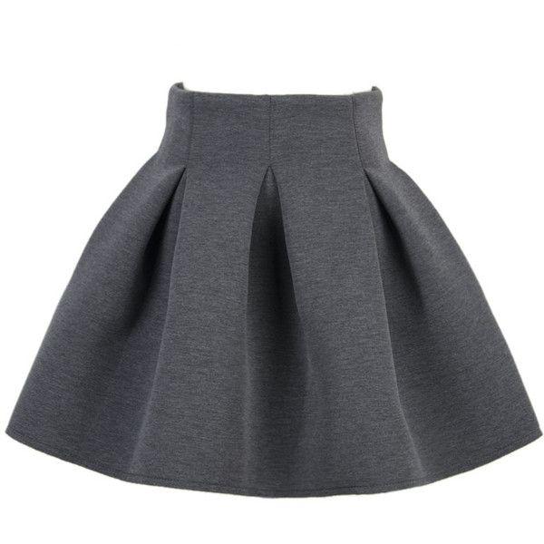 Choies Gray Box Pleated Mini Skirt (1.245 RUB) ❤ liked on Polyvore