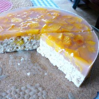Jáhlo-ovesný nepečený dort s ovocem