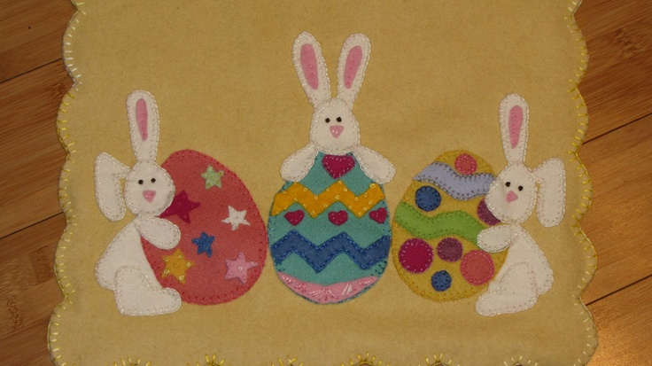 Bunny and Eggs,Table runner, Penny Rug , Candle Mat.